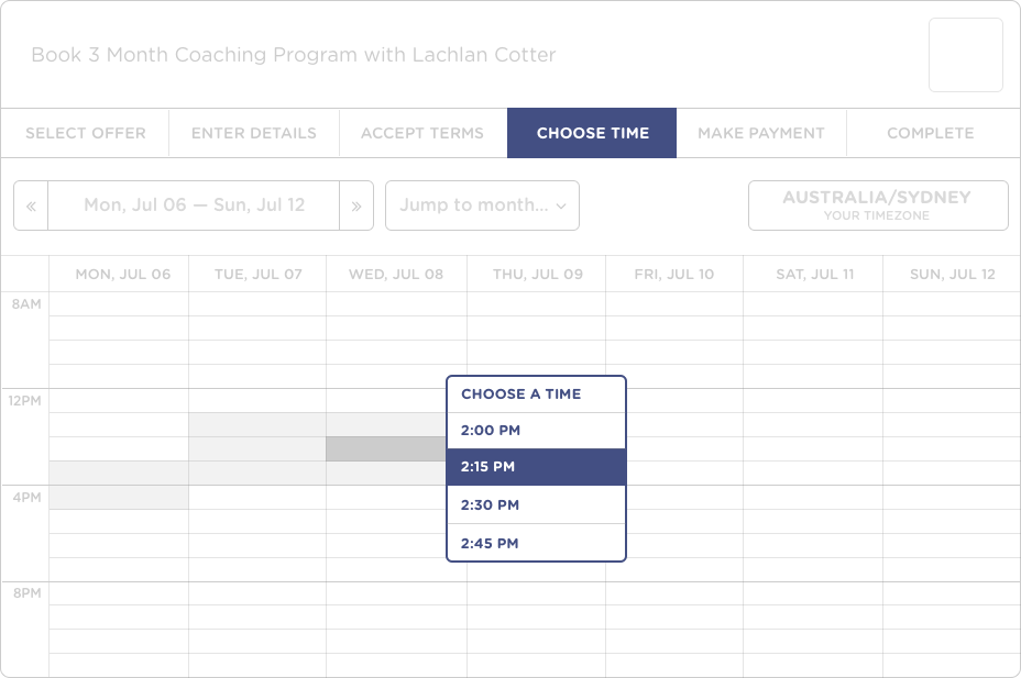 Session booking calendar screenshot